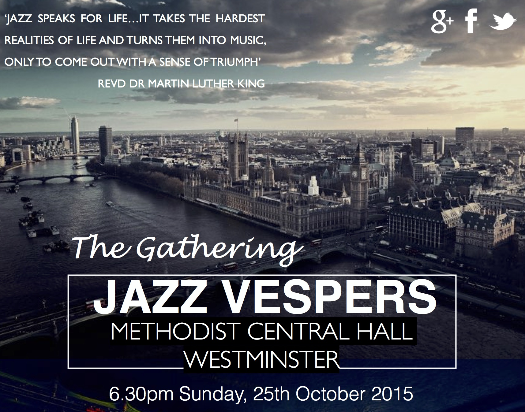 Jazz Vespers Event to be held at Methodist Central Hall, Westminster